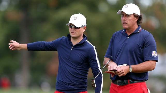 Phil Mickelson with team-mate Zach Johnson