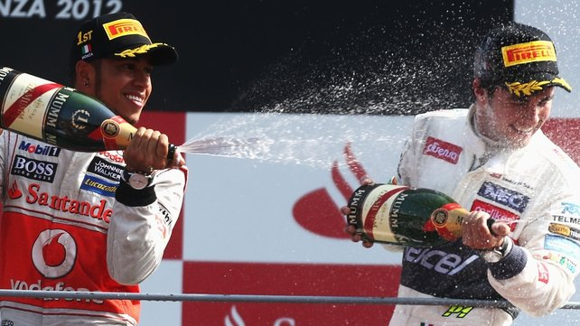 Sergio Perez (r) take Lewis Hamilton's place at McLaren