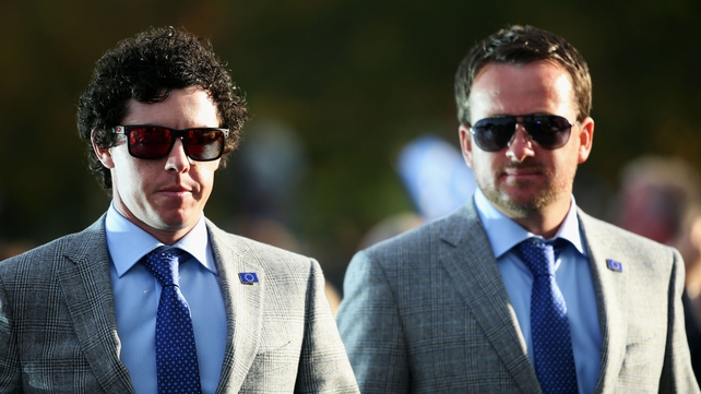 Rory McIlroy and Graeme McDowell at the Ryder Cup opening ceremony last night