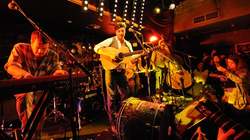 Mumford and Sons on stage in Whelans last week