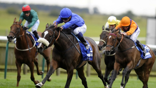 Certify on the way to outsprinting rivals to win the Shadwell Fillies' Mile at Newmarket