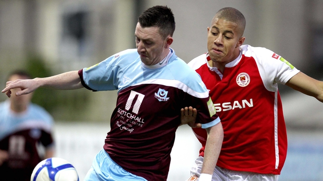Drogheda's Sean Brenann and Jake Carroll of St Patrick's Athletic