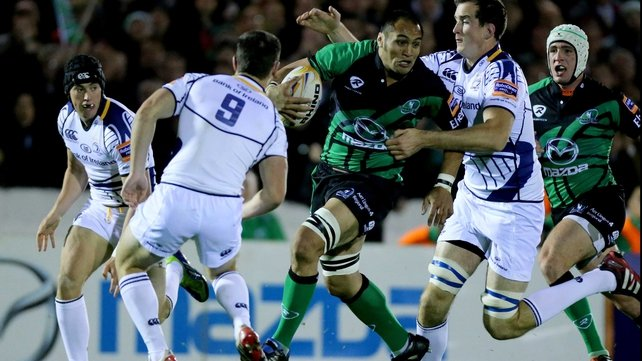 Connacht's George Naoupu is tackled by Devin Toner and John Cooney