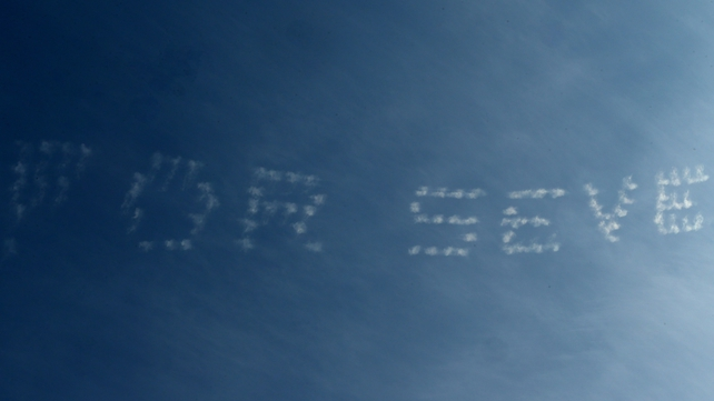An aeroplane generated message of support for Team Europe