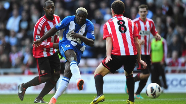 Wigan forward Arouna Kone has a shot on goal
