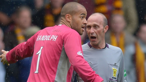 Republic of Ireland international Darren Randolph saved a Scott Brown penalty. Here he is seen complaining to the referee at the end of the game