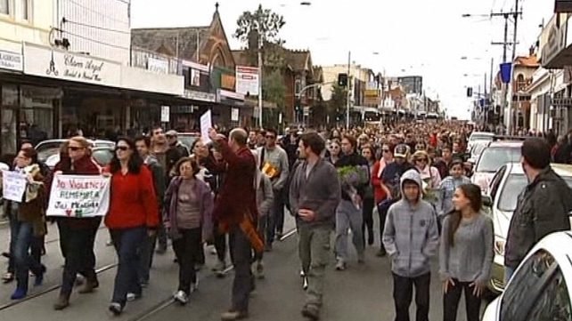 Over 30,000 people took part in a rally in Brunswick after Ms Meagher's murder last year