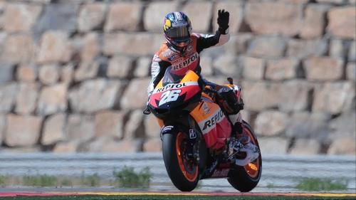 Dani Pedrosa celebrates victory