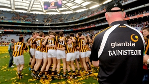 Brian Cody watches on as his players celebrate victory in the 2012 All-Ireland final