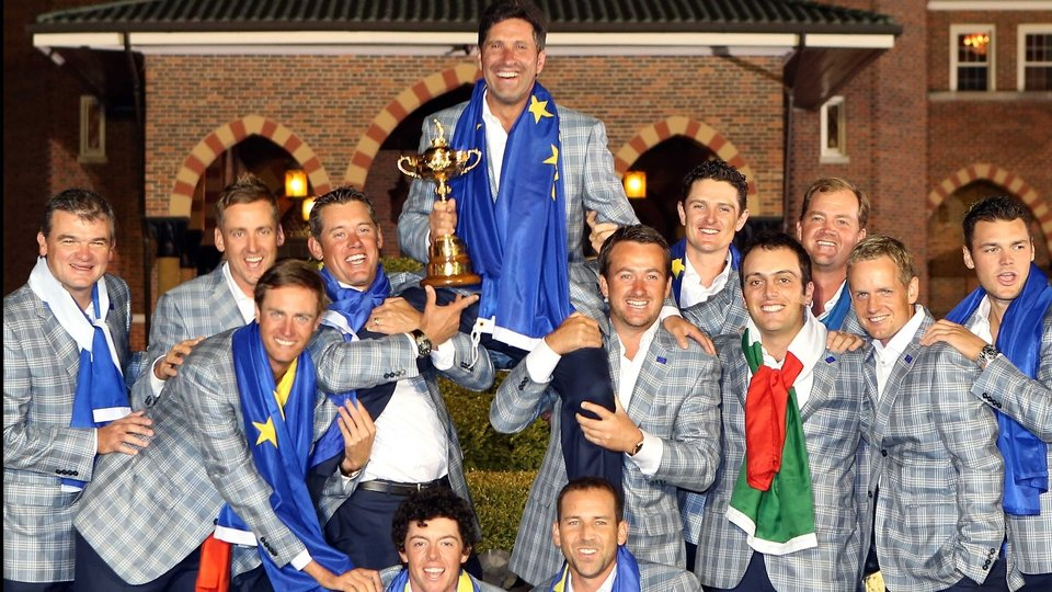 A victorious Europe hold Jose Maria Olazabal aloft