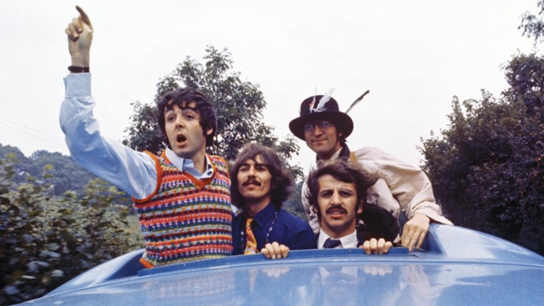 The Bealtes on their magic bus in 1967