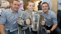 The Kilkenny team visit Crumlin Children's Hospital as they prepare to take Liam McCarthy back home