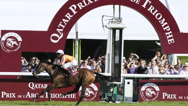 Danedream crosses the line to win the Prix de l'Arc in 2011