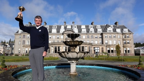 Paul Lawrie during the offical handover of the Ryder Cup to The Gleneagles Hotel