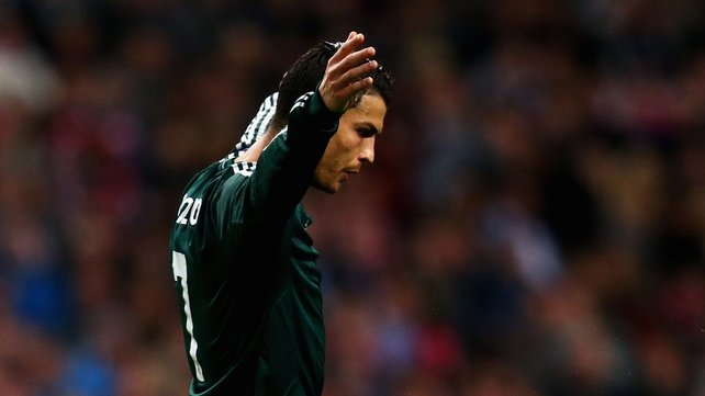 Cristiano Ronaldo celebrates his hat-trick goal in Amsterdam