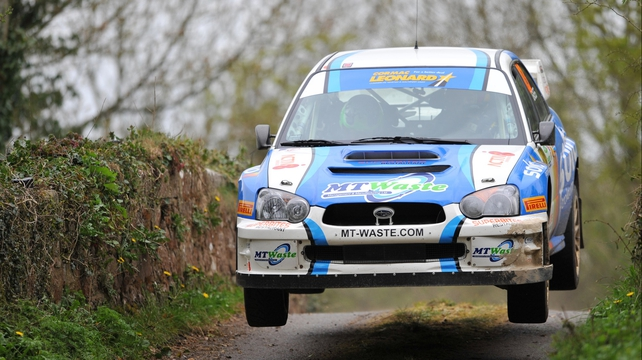Darren Gass and Enda Sherry in their Subaru Impreza S10 during this year's Circuit of Ireland Rally