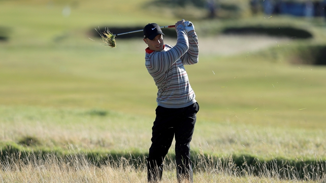 Oscar Pistorius of South Africa plays out from the rough on the fourth hole at Carnoustie