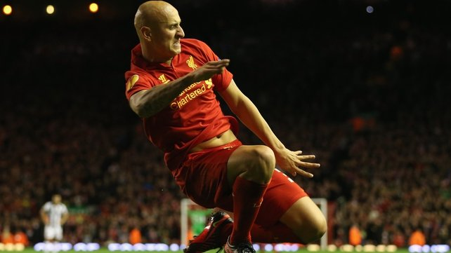 Jonjo Shelvey celebrates giving Liverpool a 1-0 lead at Anfield