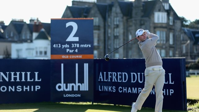 Branden Grace tees off at the second hole on the Old Course at St Andrews