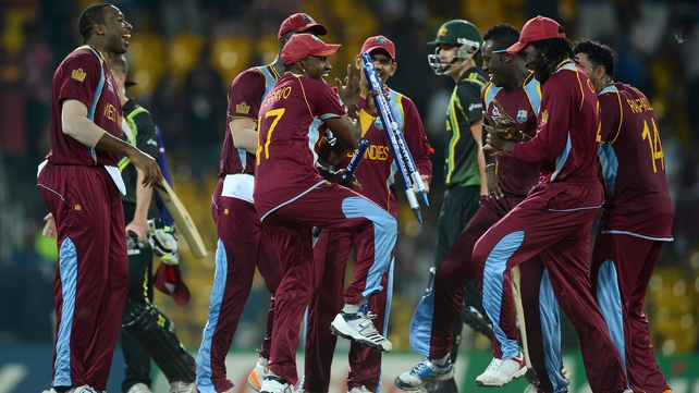 West Indies celebrate their qualificiation for the World Twenty20 final