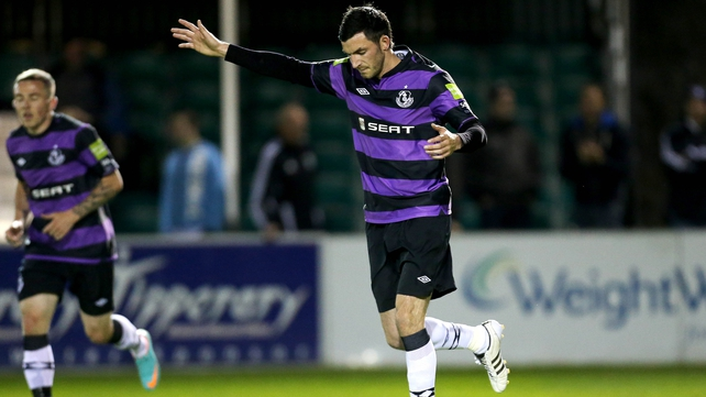 Killian Brennan celebrates putting Shamrock Rovers 1-0 up at the Carlisle Grounds