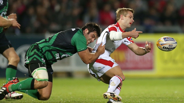 Ulster's Paul Marshall is tackled by Ronan Loughney of Connacht