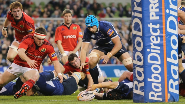 Richardt Strauss gets fingertips to the ball as Leinster score their opening try at the Aviva Stadium