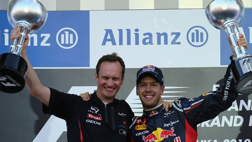 Sebastian Vettel (r) has to be favourite to take the crown given Red Bull's exceptional pace this weekend