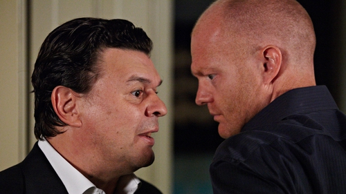 Jamie Foreman (left) as Derek with his on-screen brother Max Branning