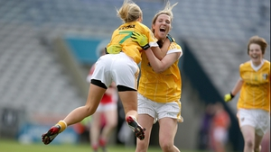 Antrim's Aine Tubridy and Geraldine McGinley celebrate the final whistle after the Saffrons had won 3-07 to 0-07