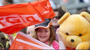 A young Armagh fan in the crowd at Croke Park for the Ladies Football Intermediate final