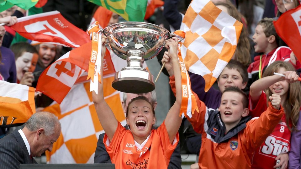 Armagh captain Mags McAlinden raises the Intermediate trophy
