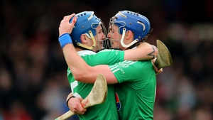 Kilmallock's Liam Walsh (l) and Gavin O'Mahony celebrate after their 1-15 to 0-15 victory over Adare in Limerick