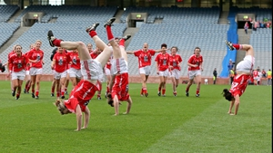 Cork's Breige Corkery, Roisin O'Sullivan and Grace Kearney celebrate with acrobatics after the game