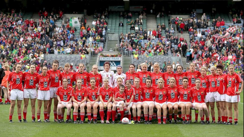 The Cork team has their photo taken before the Senior final
