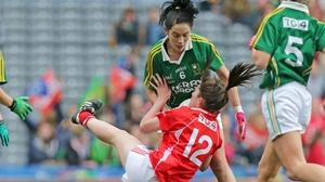 Cork's Ciara O'Sullivan is grounded by Aislinn Desmond of Kerry