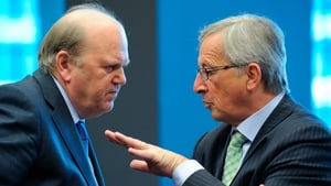 Michael Noonan chats to Jean-Claude Juncker in Luxembourg this afternoon
