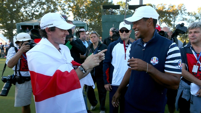 Rory McIlroy and Tiger Woods avoided each other in the Ryder Cup but they will clash in the World Golf Final in Turkey on Wednesday