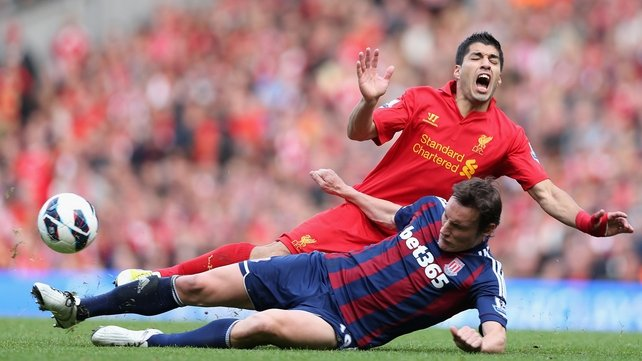 Suarez faces allegations of 'diving' after the game with Stoke
