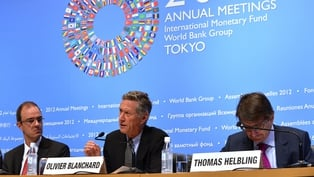 Olivier Blanchard announced the World Economic Outlook at a press conference in Tokyo