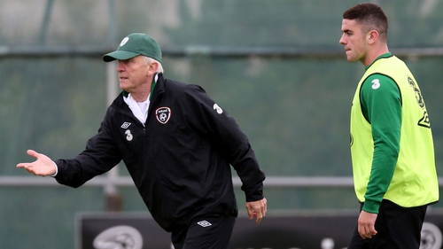 Giovanni Trapattoni putting new recruit Robbie Brady through his paces at training on Monday