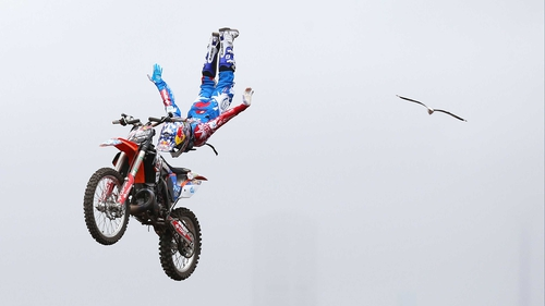 Dany Torres of Spain competes in the Red Bull X-Fighters Moto Cross at Cockatoo Island