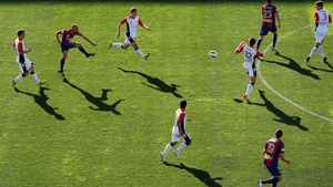Ruben Zadkovich of the Jets strikes during the A-League match between the Newcastle Jets and Adelaide United