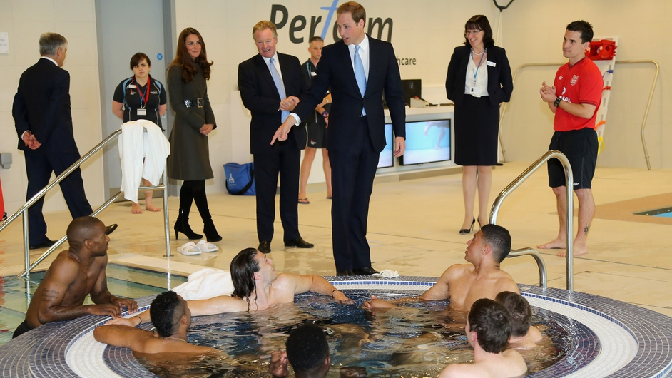 John Terry was nowhere to be seen as Britain's Prince William and his wife Catherine toured English football's new training base