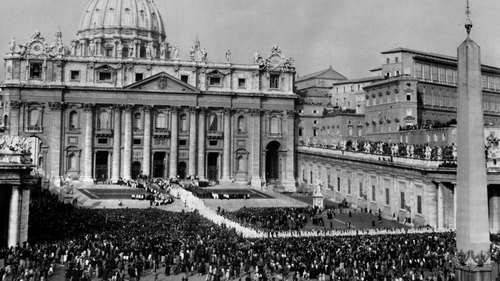 View of the procession of the Council Fathers 11 October 1962 in front of Saint Peter's Basilica at the Vatican, at the opening of the first session of the Second Ecumenical Council of the Vatican, or Vatican II.