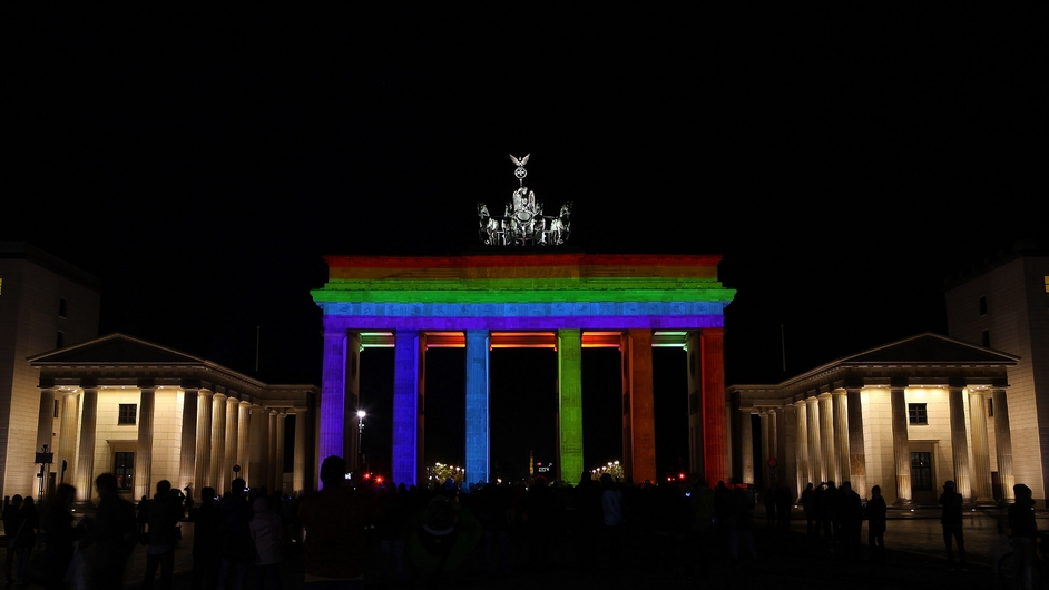 Berlin's Brandenburg Gate is lit up as part of the city's Festival of Lights