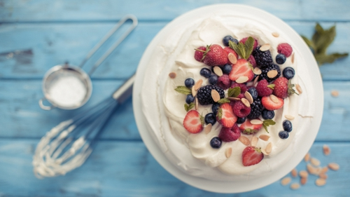 Hazelnut Pavlova with Caramel Cream