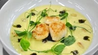 Panfried Scallops and Cauliflower Velouté - This MasterChef Ireland dish is of Panfried Scallops, Cauliflower Velouté, black pudding, toasted almonds, scallion ash with white truffle oil, and pea shoots
