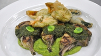 Herb and honey marinated lamb cutlets - These Herb and honey marinated lamb cutlets from MasterChef Ireland come stuffed courgette flowers and broad bean and pea puree.