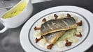 Pan-fried sea bass with fennel puree, chanterelles and celeriac and a tarragon sauce